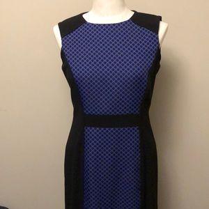 Tahari Sz 8 black and purple spotted sheath dress